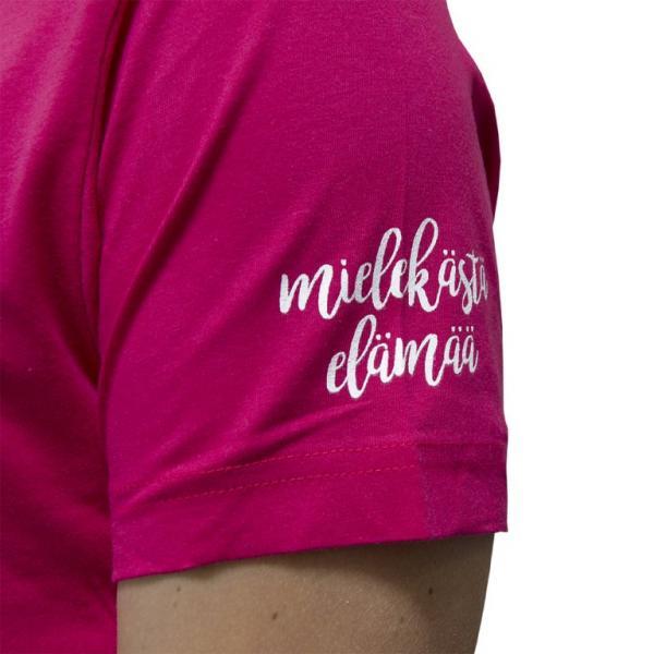Mielekästä elämää t-paita, pinkki_painatus hihassa