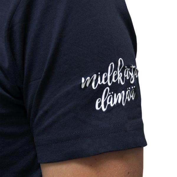 Mielekästä elämää t-paita, sininen_painatus hihassa